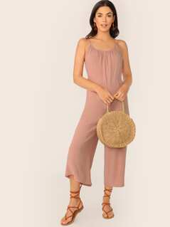 Shirred Scoop Neck Sleeveless Wide Leg Jumpsuit