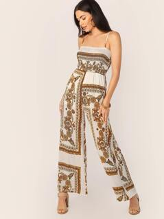 Sleeveless Smocked Bodice Baroque Print Jumpsuit