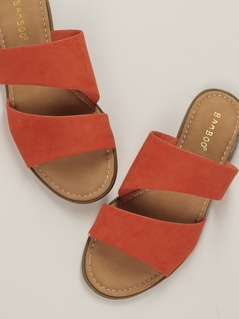 Two Band Cut Out Flat Slide Sandals