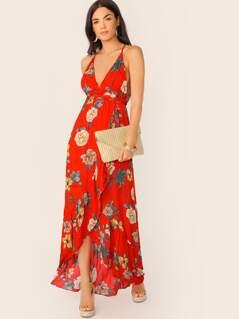 Adjustable Spaghetti Strap Floral Maxi Dress