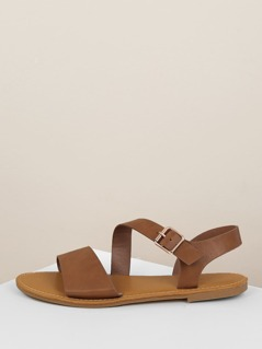 Solid Asymmetric Band Side Buckle Sandals