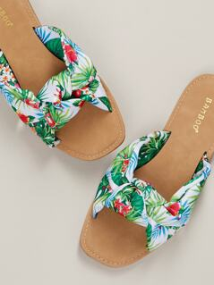 Tropical Floral Twist Front Flat Slide Sandals