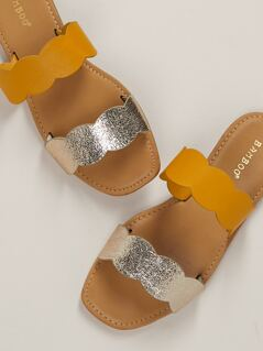 Two Tone Metallic Scallop Bands Slide Sandals