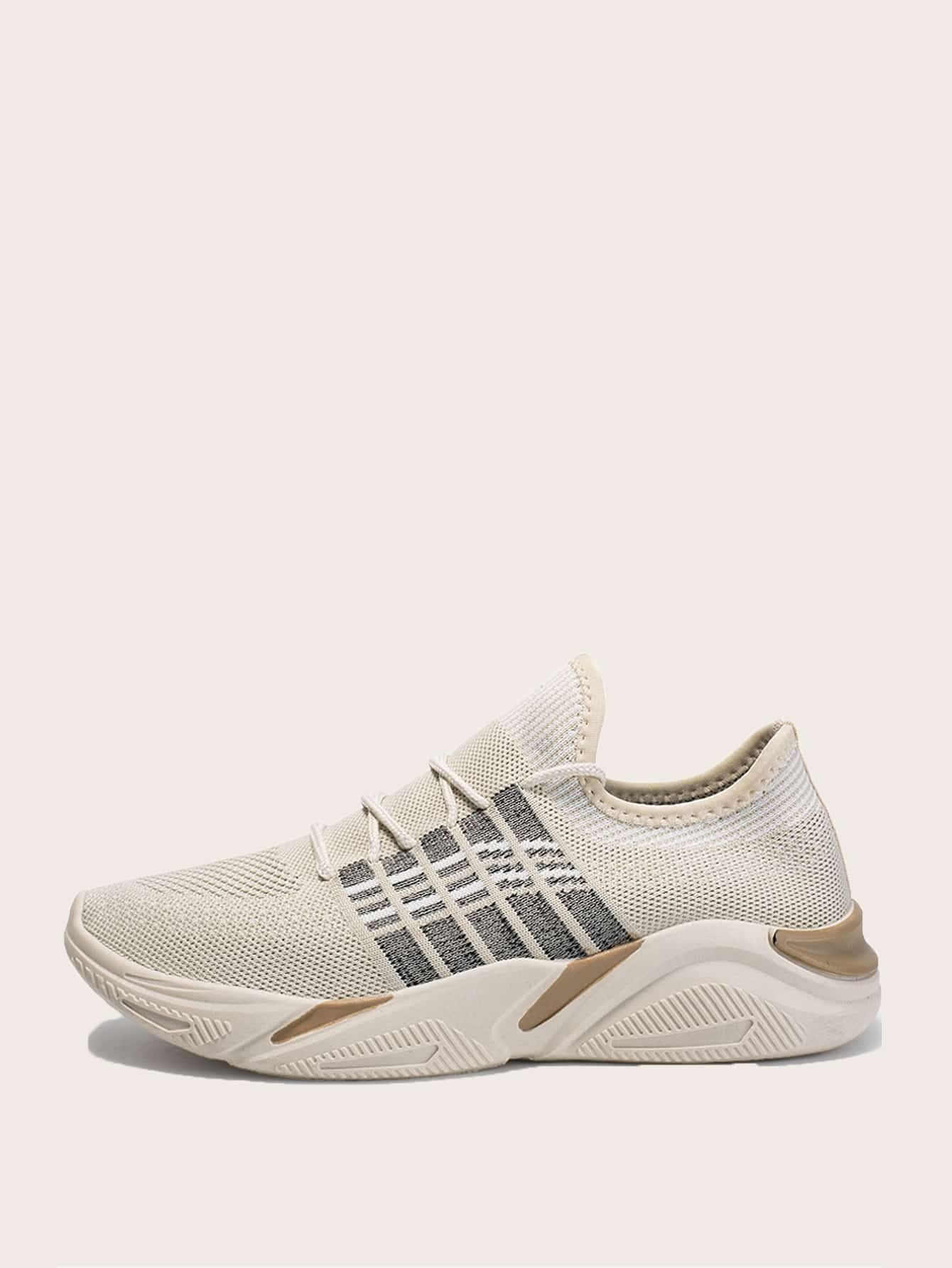 Men Lace-up Front Knit Sneakers null, ,