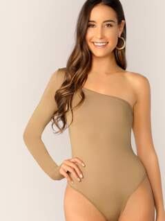 One Shoulder Slim Fitted Bodysuit