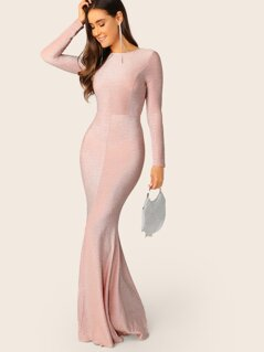 Open Back Slit Fishtail Hem Sparkly Glitter Dress