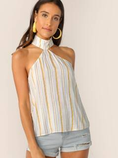 Keyhole Back Striped Halter Top