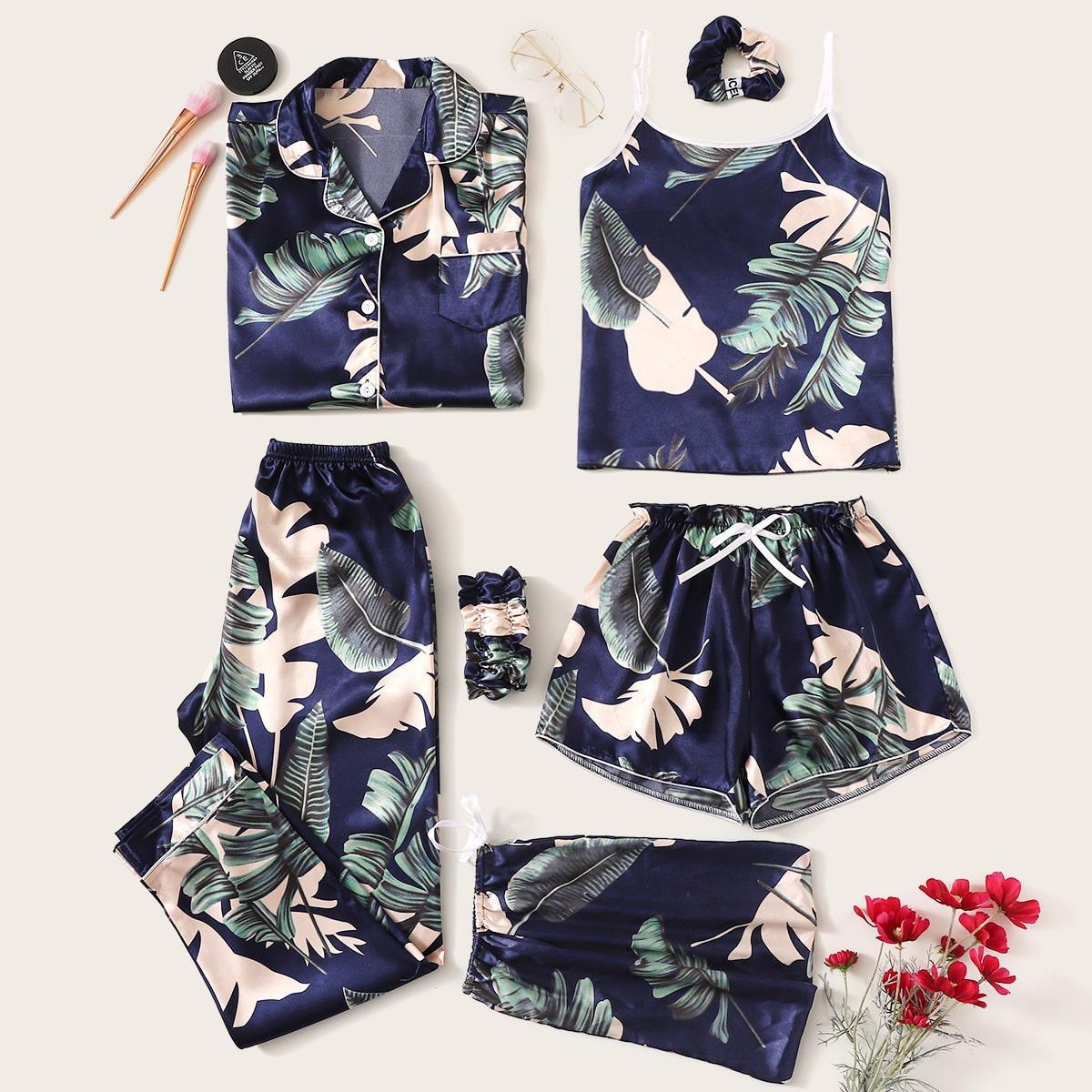 Комплект Атласная пижама С Тропическим Принтом 7 предметов от SHEIN