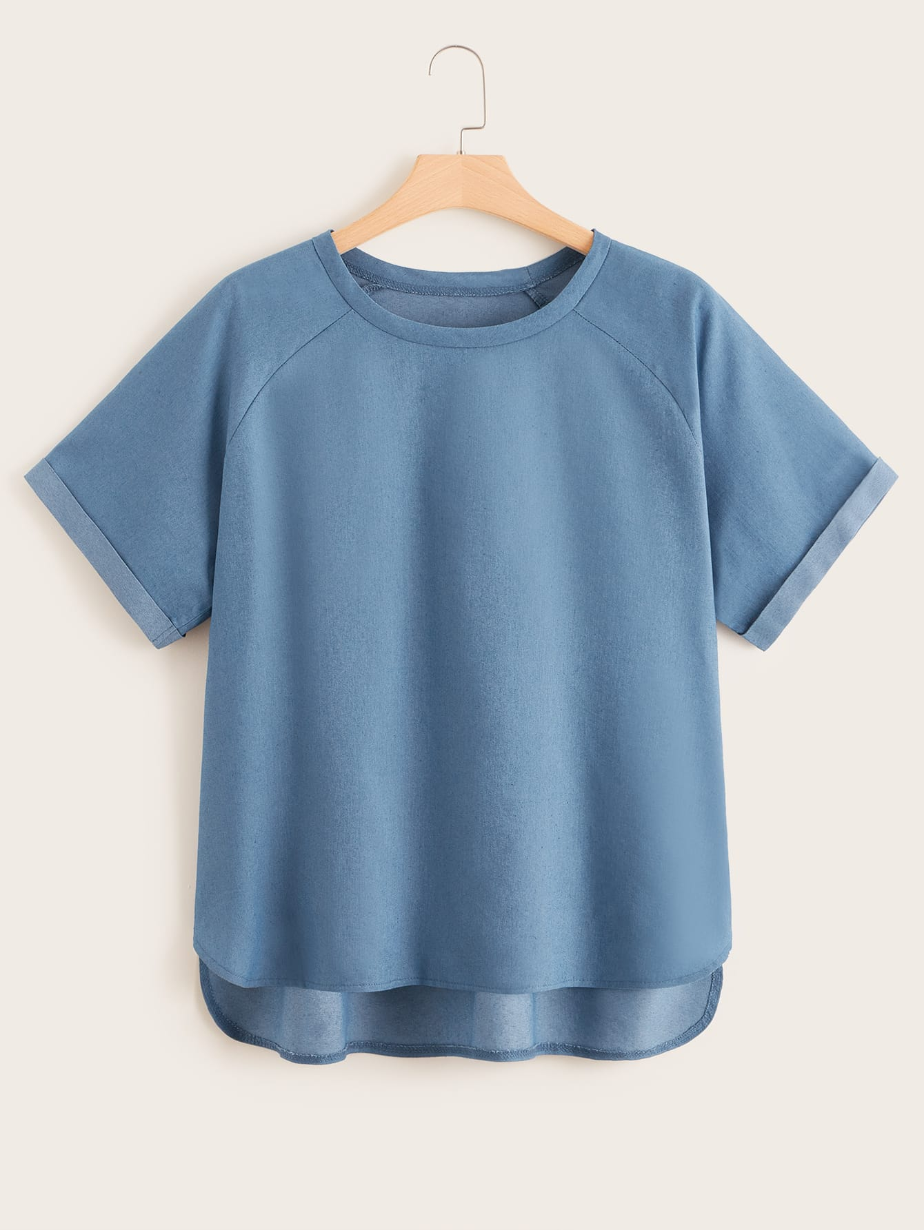 Plus Solid Raglan Sleeve Denim Top null