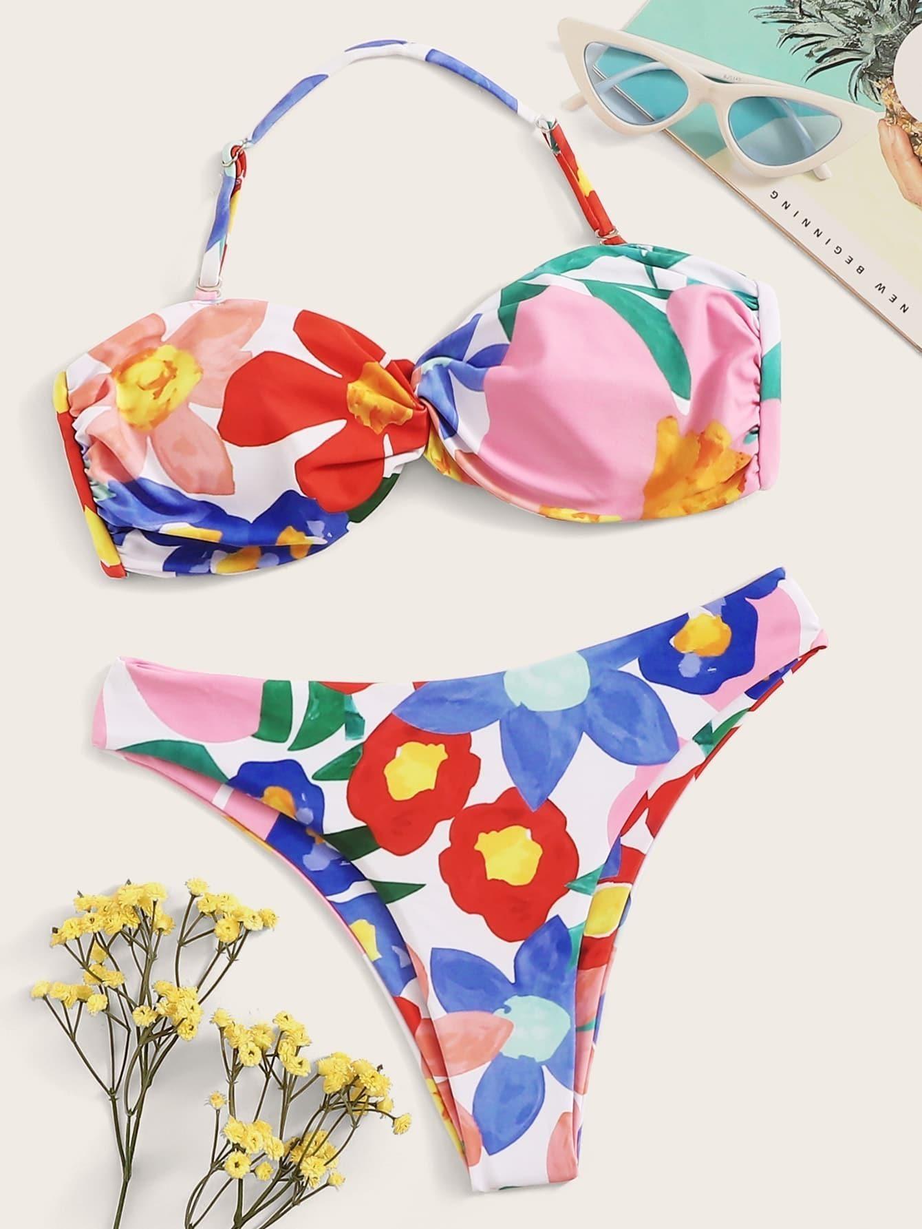 Randon Floral Twist Halter Bikini Set null, ,