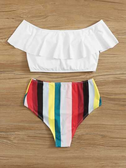 Flounce Bardot Top With High Waist Bikini Set null, ,