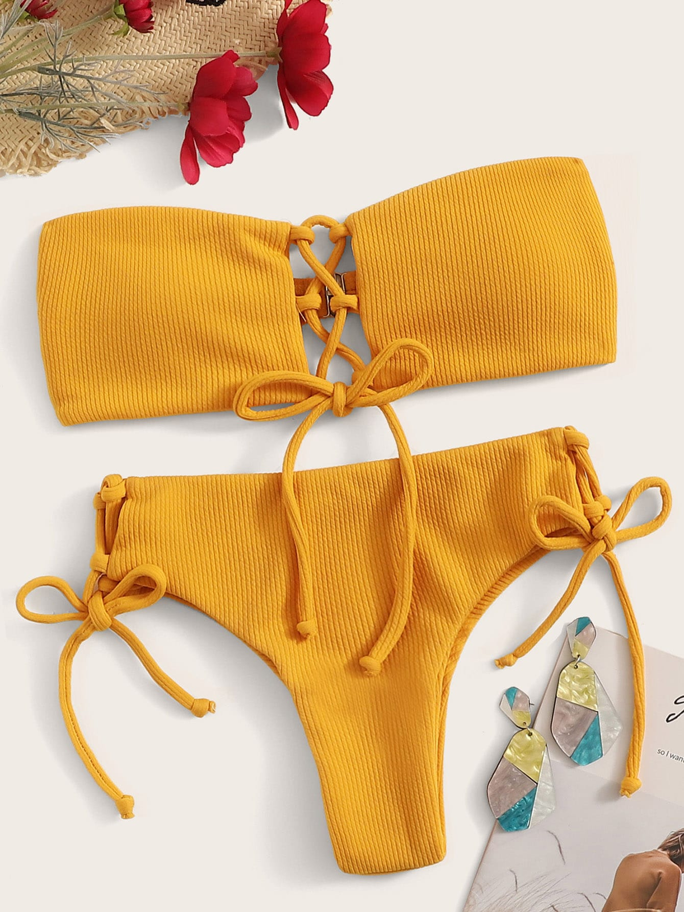 Lace-up Ribbed Bandeau Bikini Set null, ,