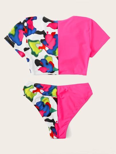 Random Camo Print Top With Twist Bikini Set null, ,