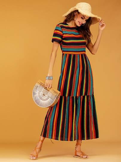 SheIn / Rainbow Stripe Spliced Maxi Dress