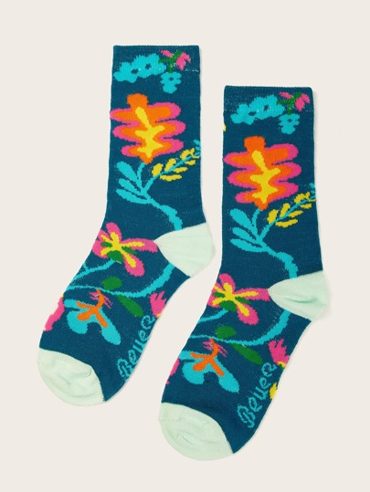 Flower Pattern Ankle Socks 1pair null, ,