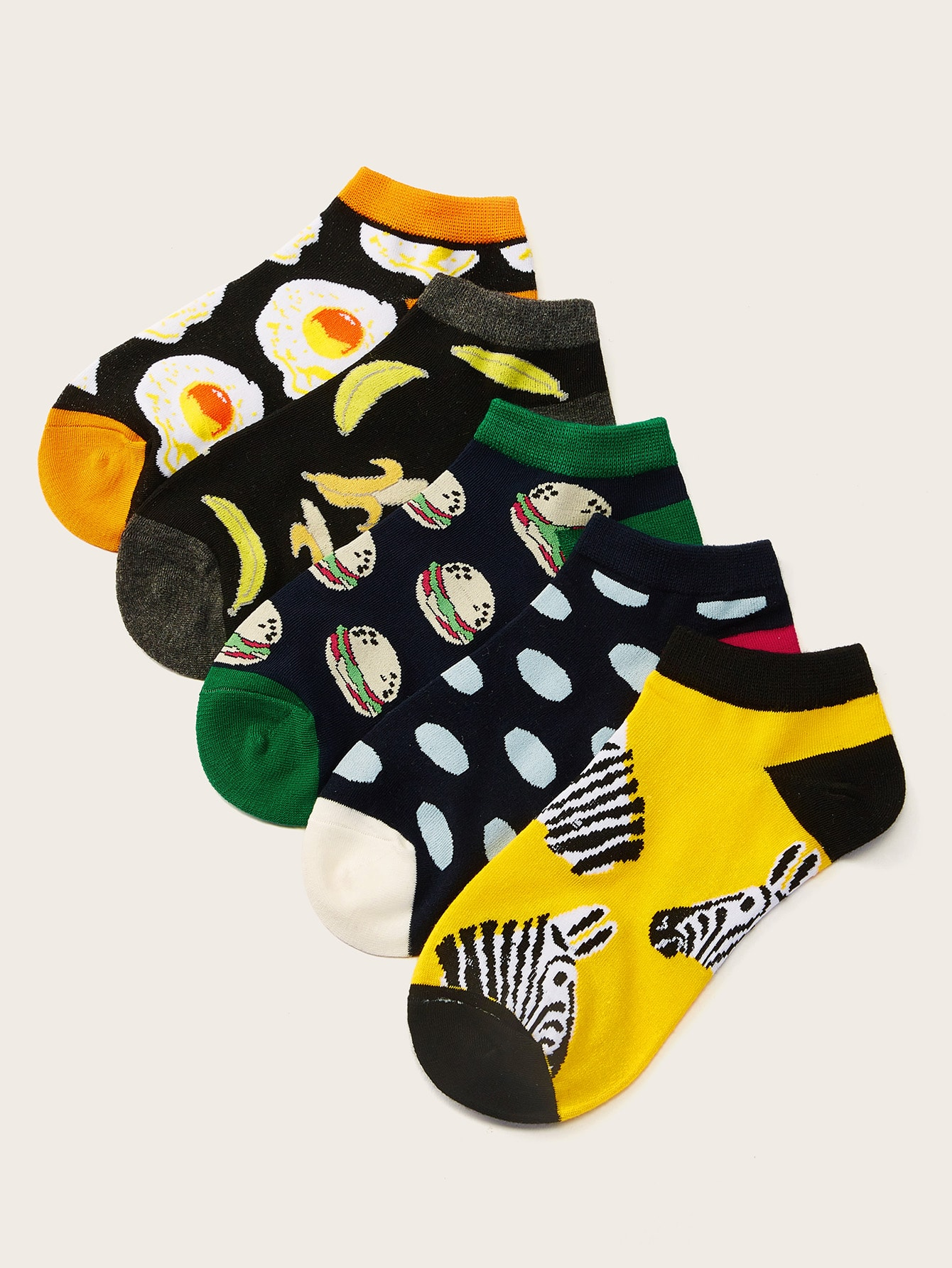 Hamburger & Banana Pattern Ankle Socks 5pairs null, ,