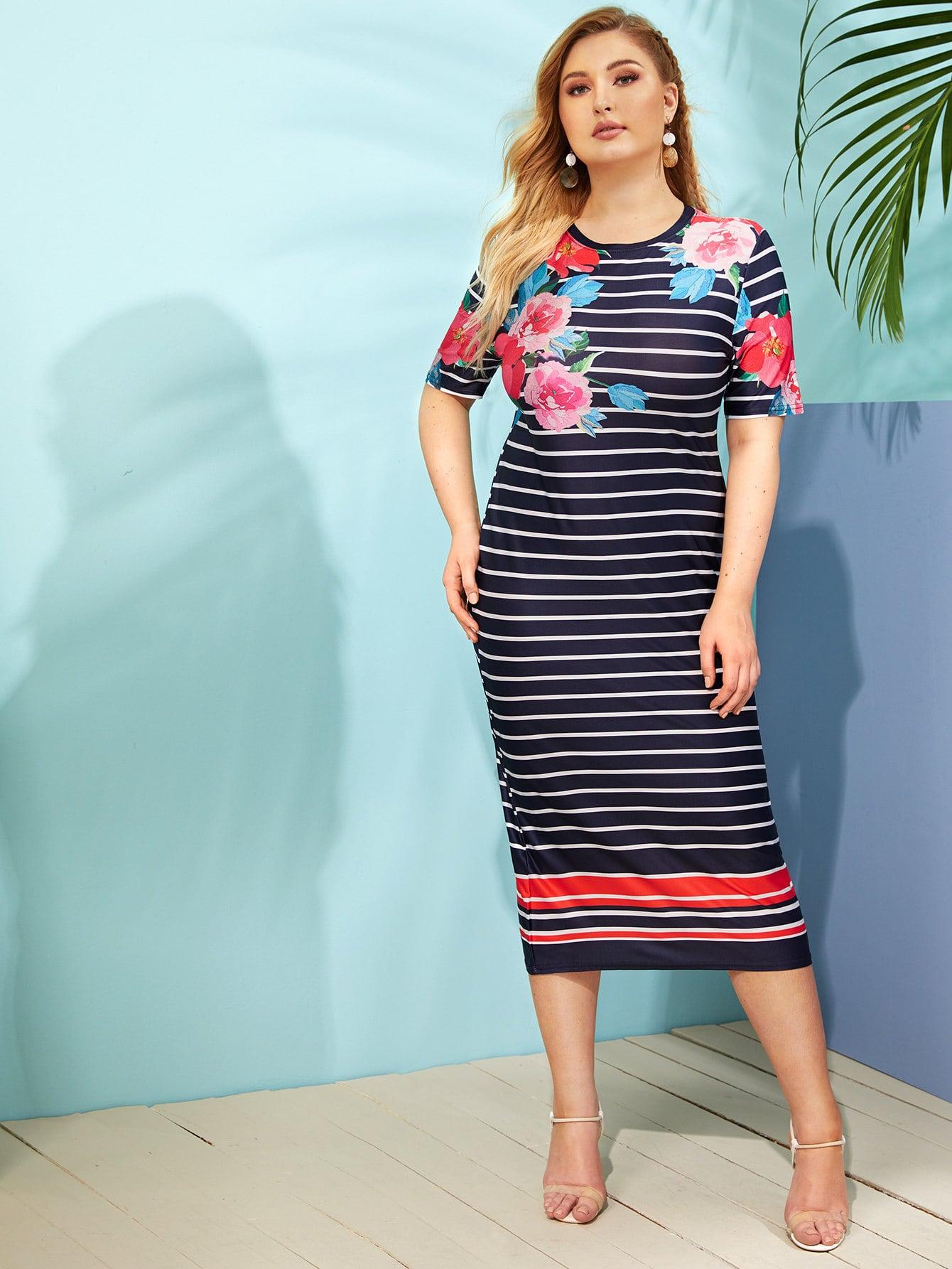 Полосатое платье с цветочным принтом размера плюс