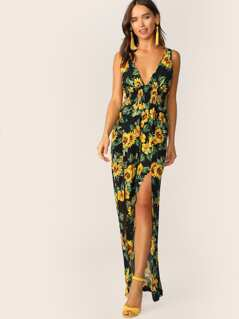 Sunflower Print Split Thigh Shirred Detail Maxi Jumpsuit
