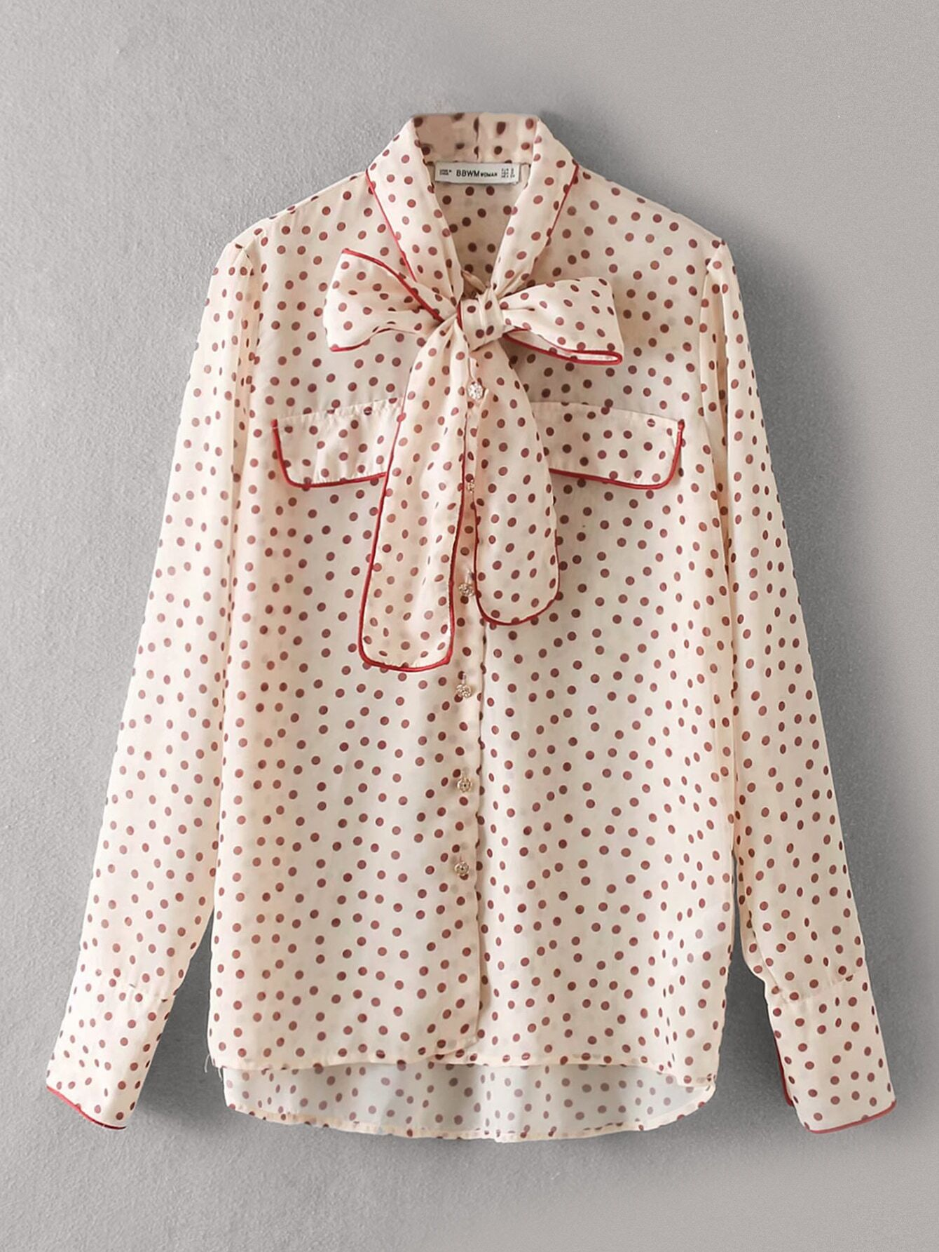 Tie Neck Contrast Piping Trim Dot Chiffon Blouse null