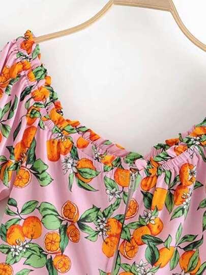Orange Print Frill Crop Blouse null, ,