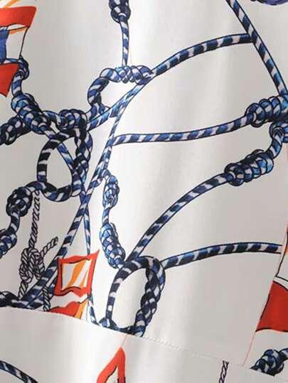 Chain Print Blouson Waist Blouse null, ,