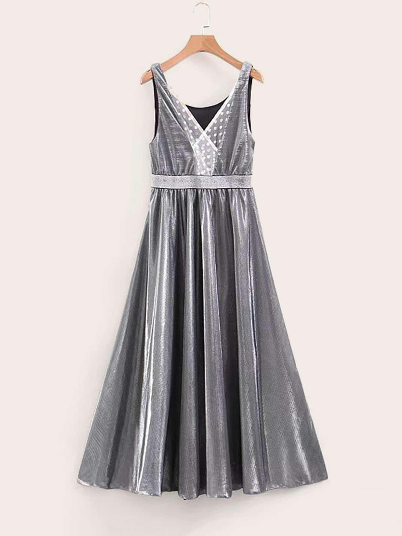 Mesh Panel High Waist Glitter Dress null