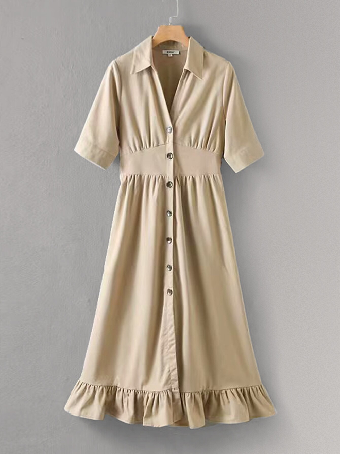 Ruffle Hem Button Front Shirt Dress null