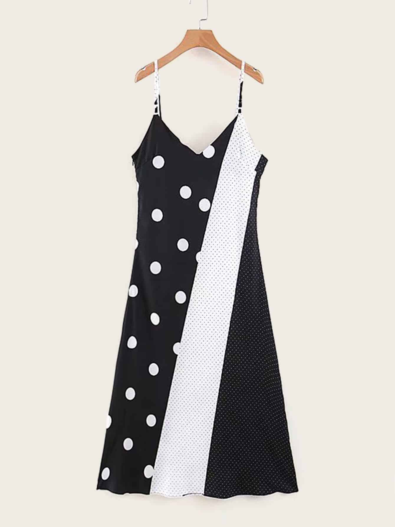 Polka Dot Cut And Sew Cami Dress null