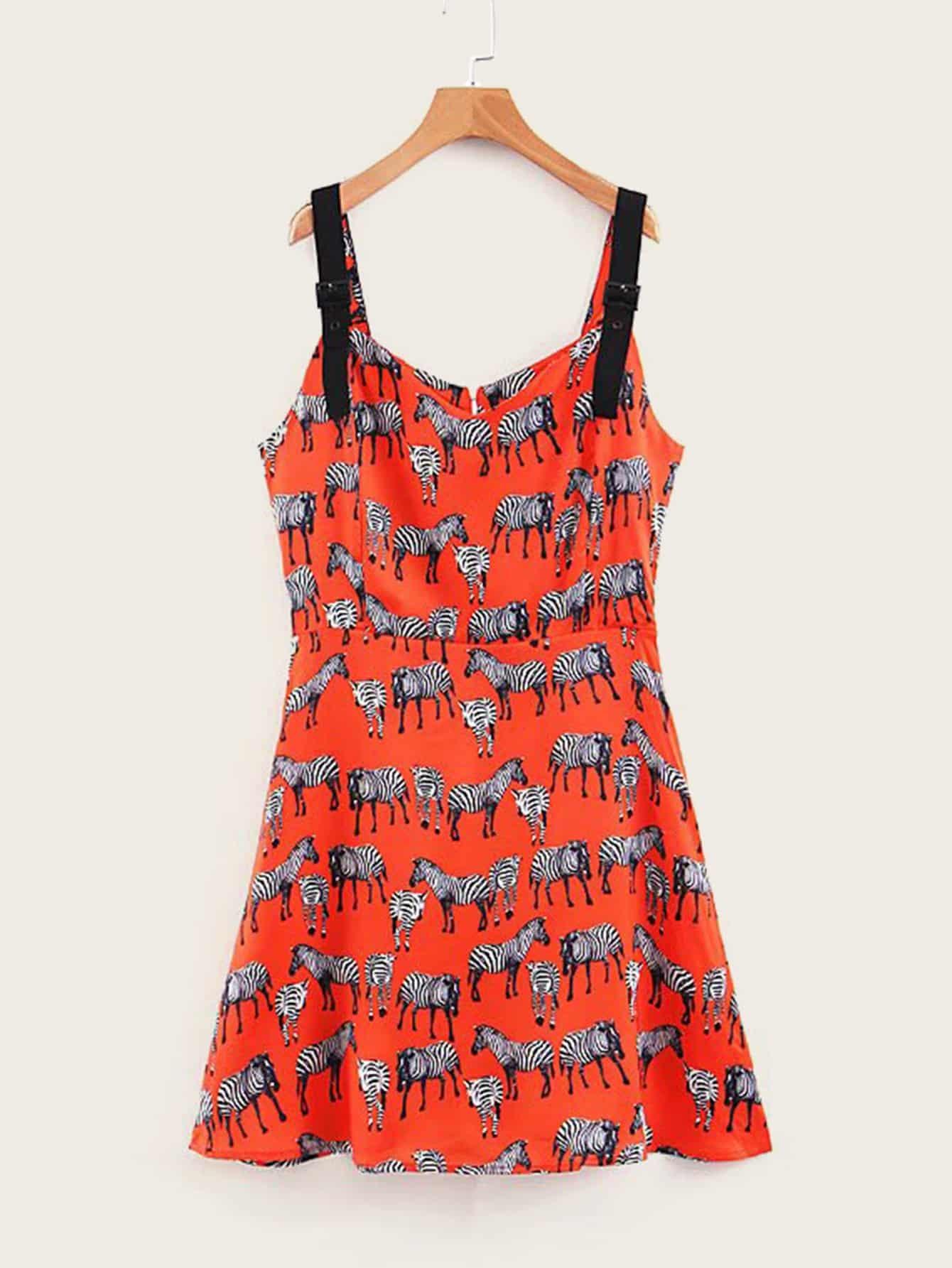 Zebra Print Slip Mini Dress null