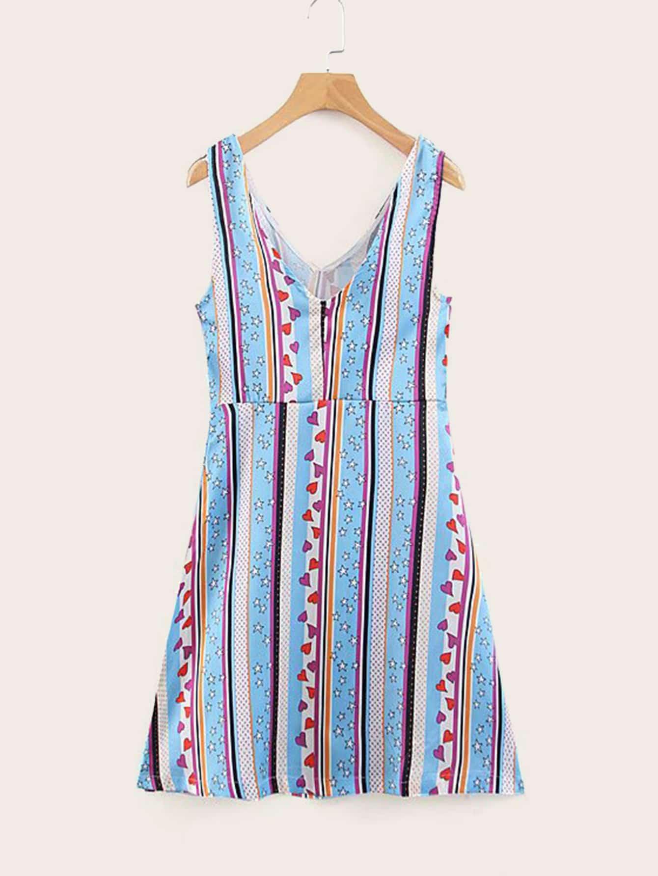Heart & Geo Print Dress null