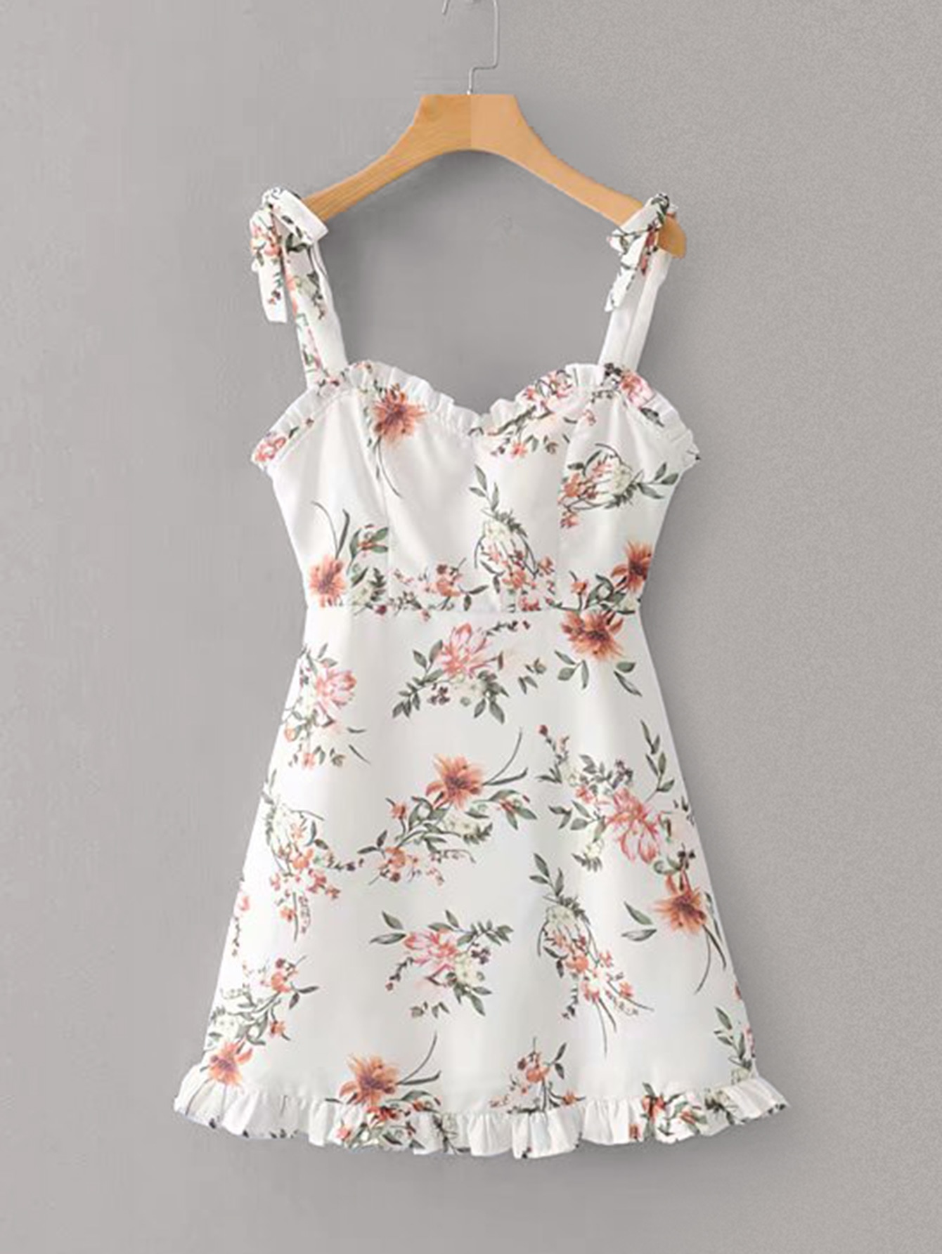 Tie Back Floral Print Frill Cami Dress null