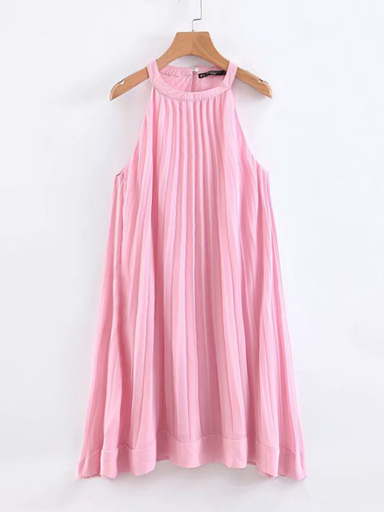 Solid Pleated Chiffon Halter Dress null