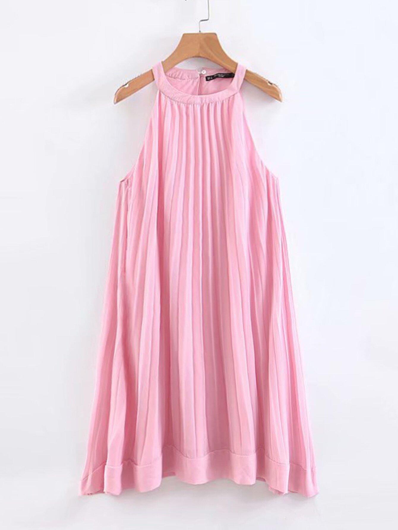 Solid Pleated Chiffon Halter Dress null, ,