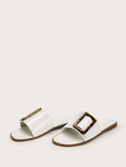 Tortoiseshell Pattern Flat Slippers null, ,