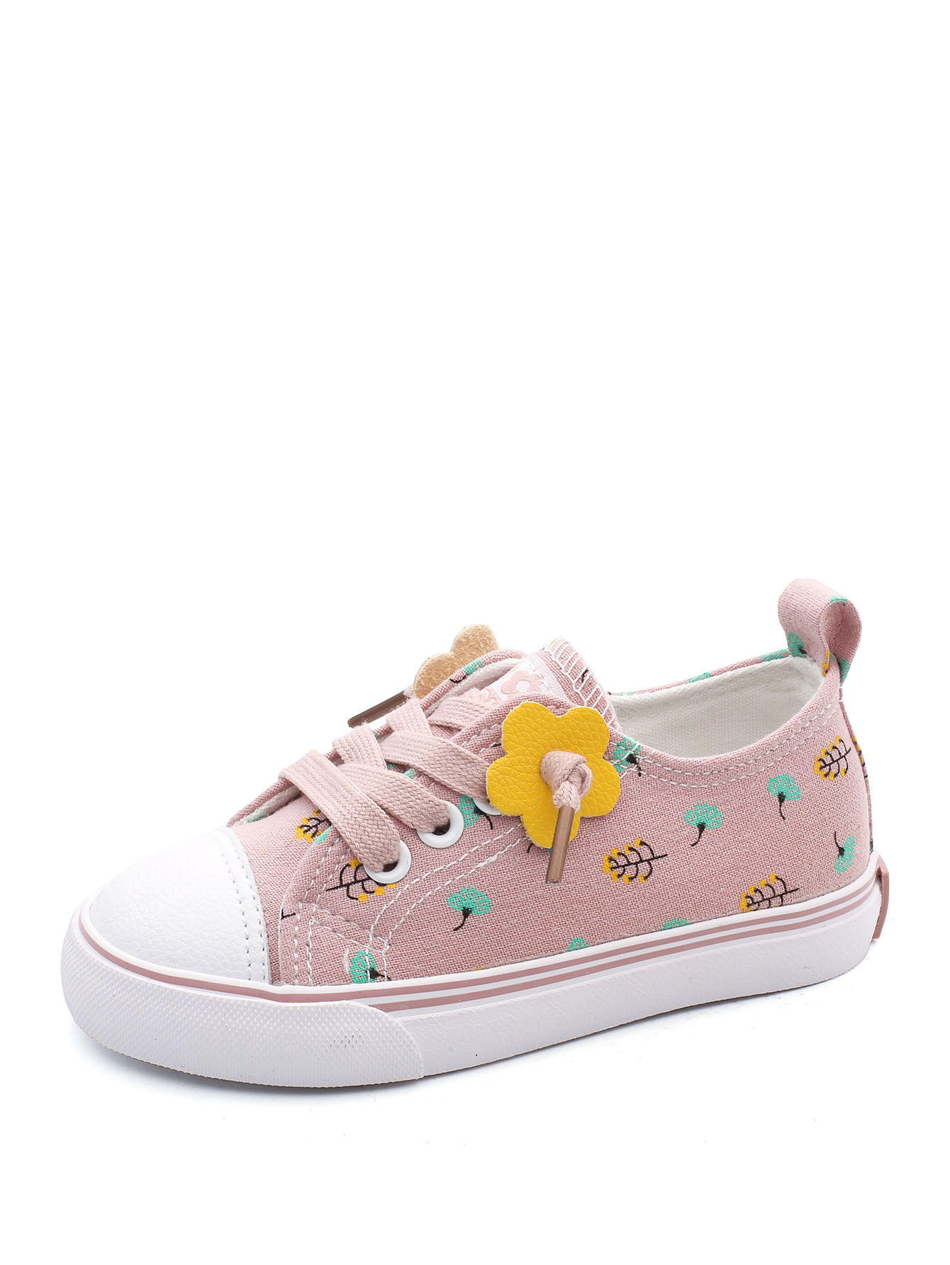 Kids Floral Pattern Lace-up Sneakers null