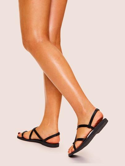 Criss Cross Toe Post Flat Sandals null, ,