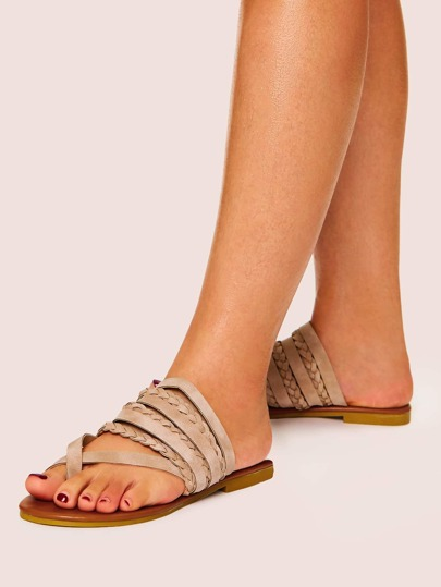 Criss Cross Plaited Flat Slippers null, ,