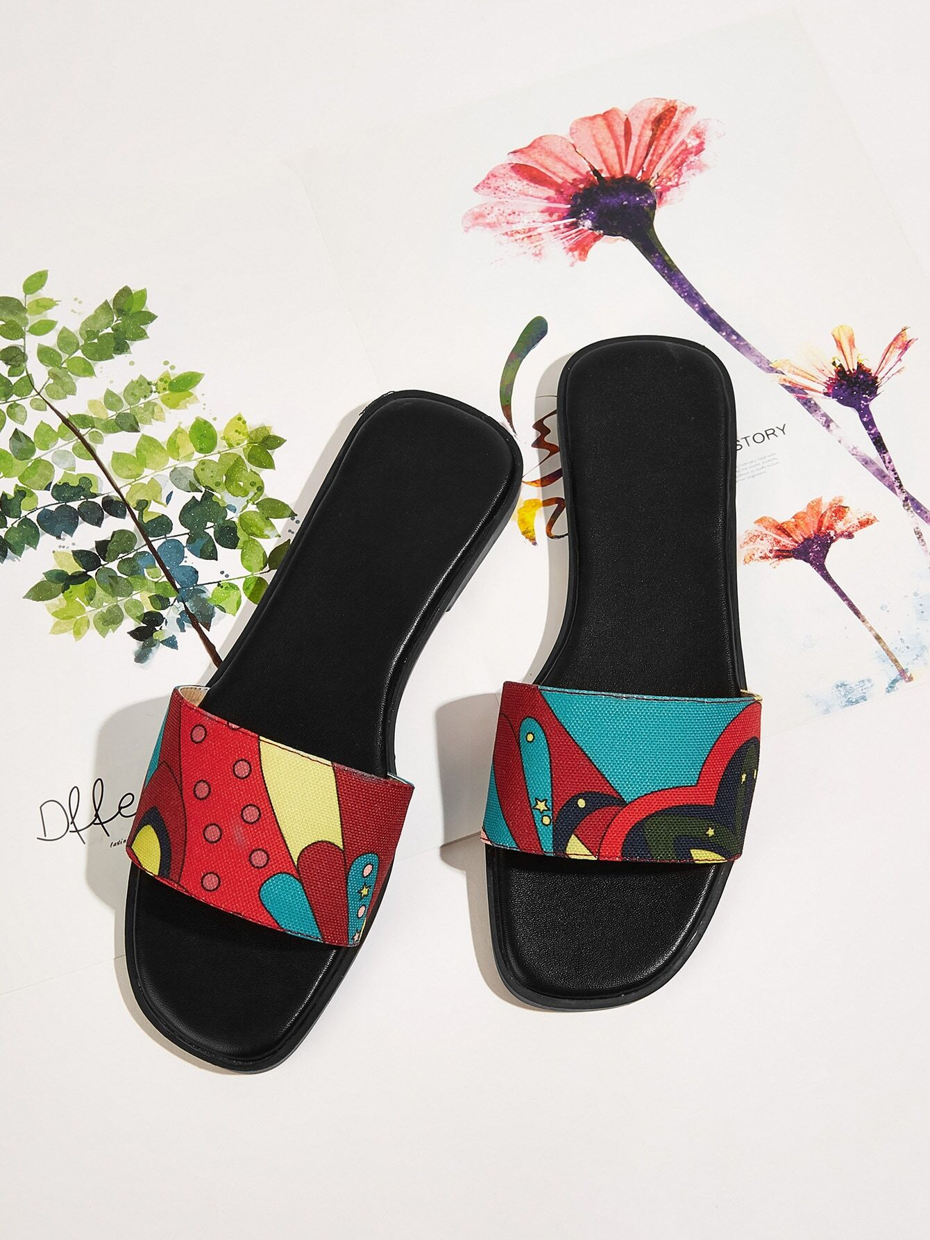 Cartoon Pattern Flat Slippers null