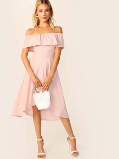 e2cbced4 Solid Ruffle Trim Asymmetrical Hem Bardot Dress | MakeMeChic.COM