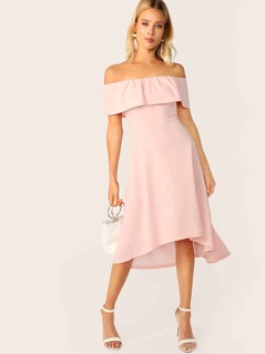 Solid Ruffle Trim Asymmetrical Hem Bardot Dress