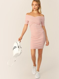 Cross Wrap Front Rib-knit Striped Bardot Dress