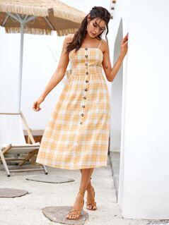 Plaid Print Button Front Slip Dress
