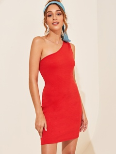 One Shoulder Rib-knit Bodycon Dress