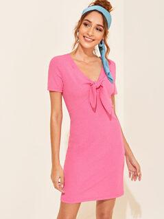 Tie Front Rib-knit Dress