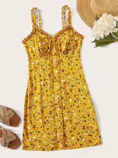 Ditsy Floral Print Button Front Frilled Sundress