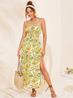 Frilled Trim Shirred Waist Split Tropical Tube Dress
