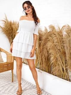Frill Trim Layered Ruffle Hem Shirred Bardot Dress