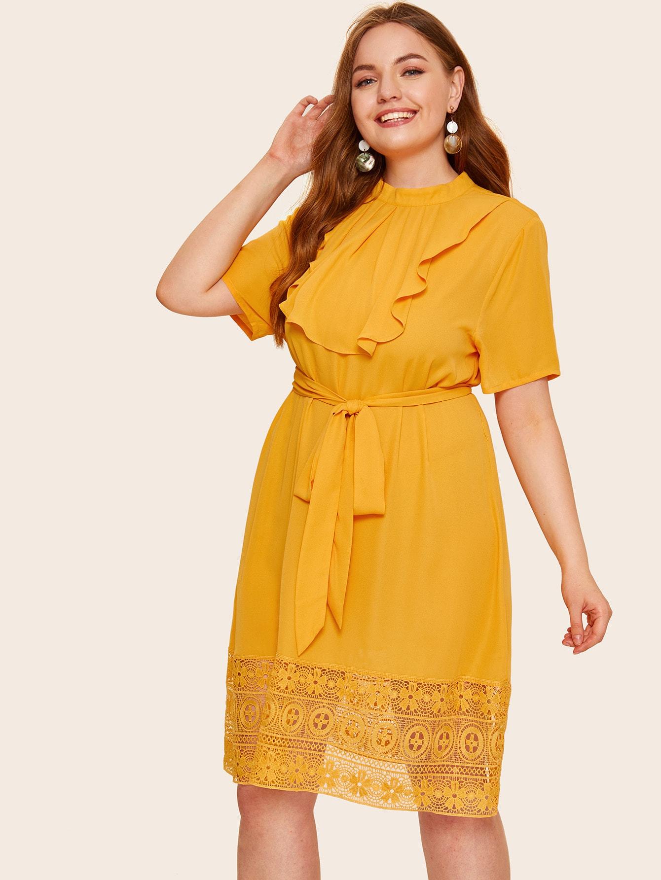 Фото - Платье размера плюс с кружевным низом и поясом от SheIn цвет жёлтые
