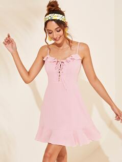 Zip Back Ruffle Trim Lace Up Front Slip Dress