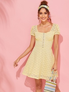 Hook and Eye Placket Floral Lace Dress